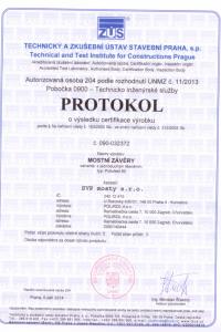 Protokol o výsledku certifikace výrobku - mostní závěry s jednod