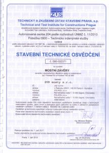 Stavební technické osvědčení - mostní závěry
